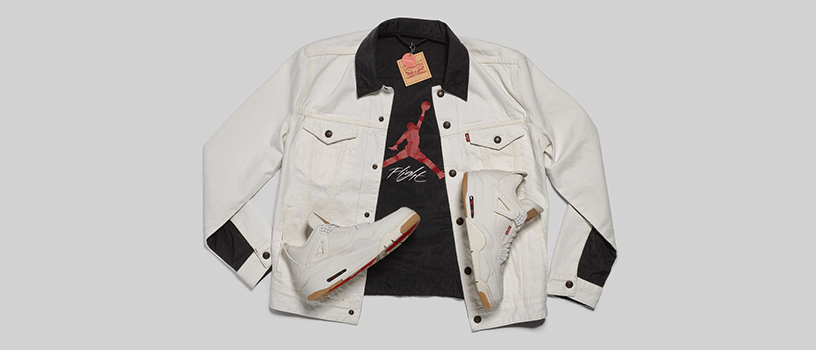 "【再販:7月13日(金)】NIKE AIR JORDAN RETRO 4 x LEVI'S ""WHITE & BLACK"""