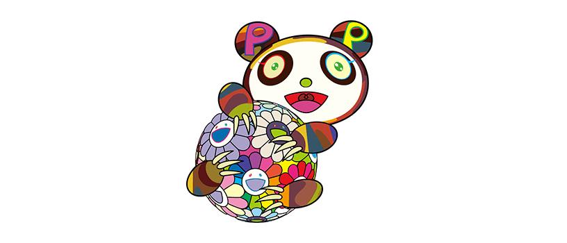 """【7月31日(金)12時~】村上隆 パンダの版画  """"お花の玉に抱きついている子供のパンダ"""""""