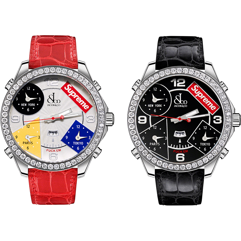 Supreme®/Jacob & Co Time Zone 40mm and 47mm Watches
