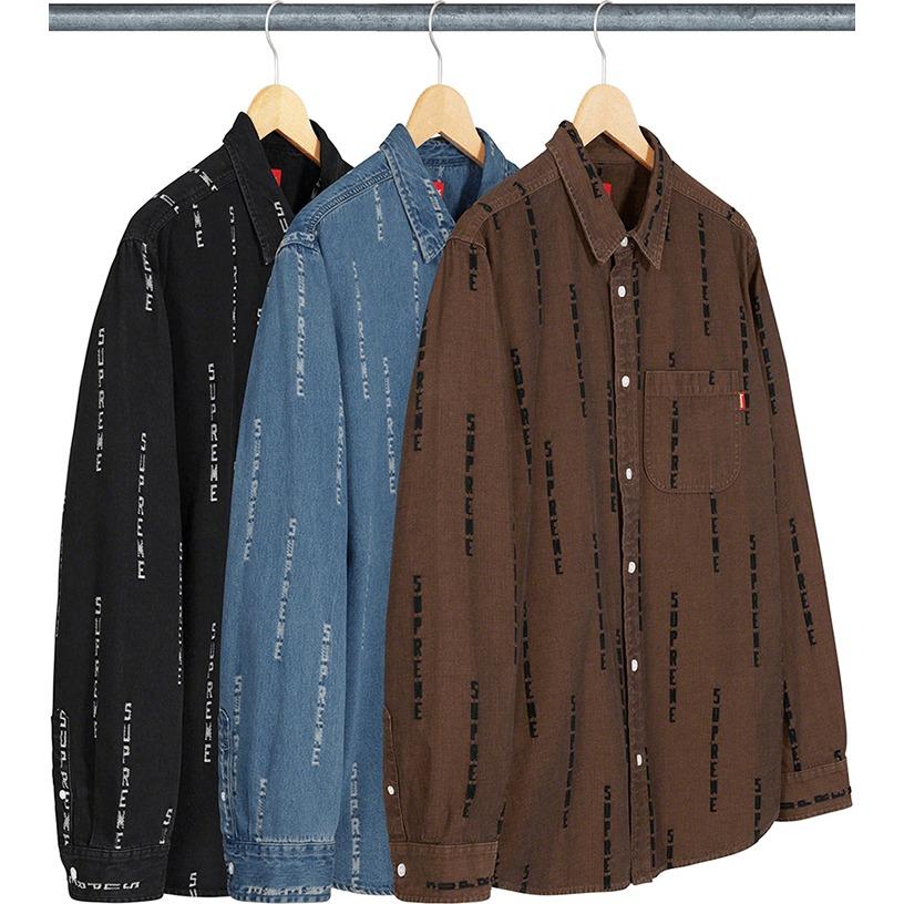 Logo Stripe Jacquard Denim Shirt