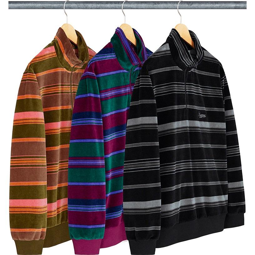 Stripe Velour Half Zip Pullover
