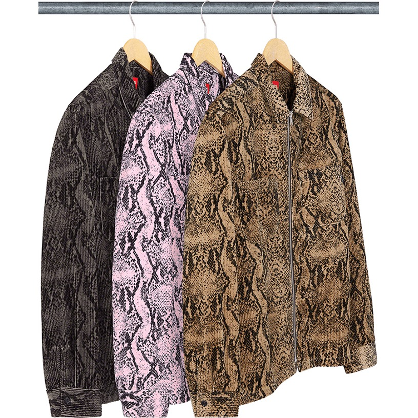 Snakeskin Corduroy Zip Up Shirt