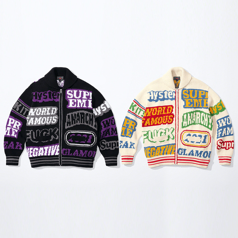 Supreme®/HYSTERIC GLAMOUR Logos Zip Up Sweater