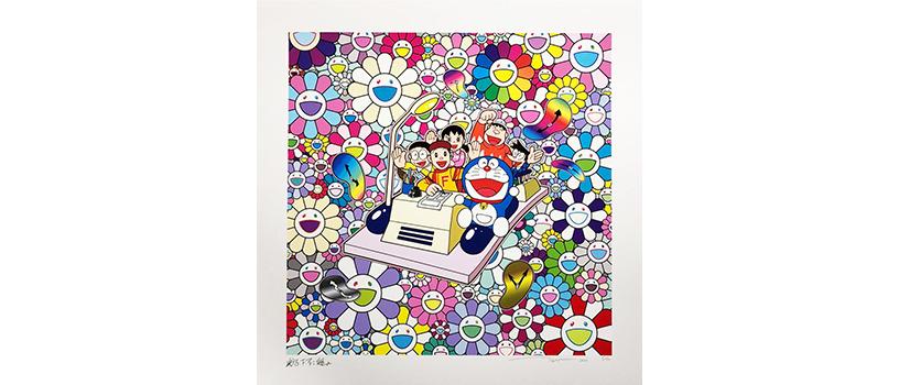 """【4月13日(火)12時~】村上隆 ドラえもんコラボレーション版画 """"タイムマシンでレッツゴー"""""""