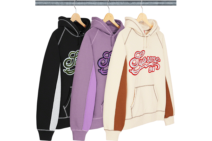 Paneled Script Hooded Sweatshirt