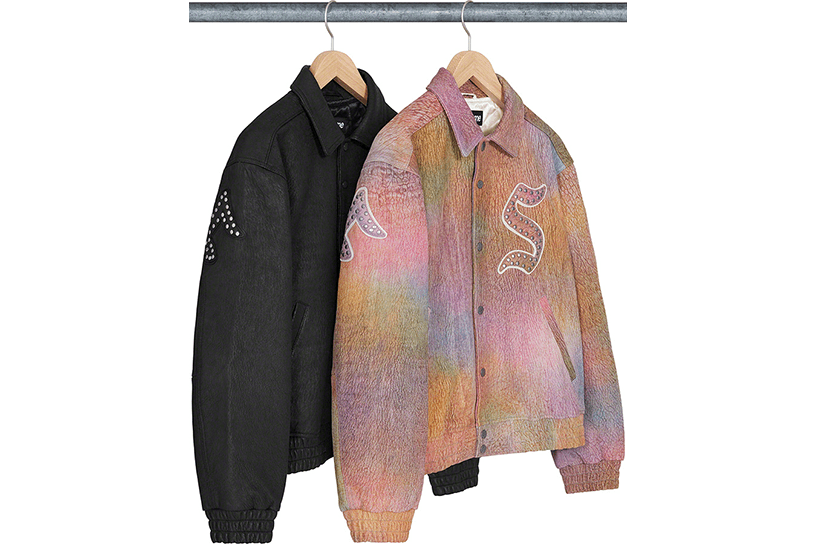 Pebbled Leather Varsity Jacket