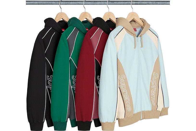 Track Paneled Zip Up Hooded Sweatshirt