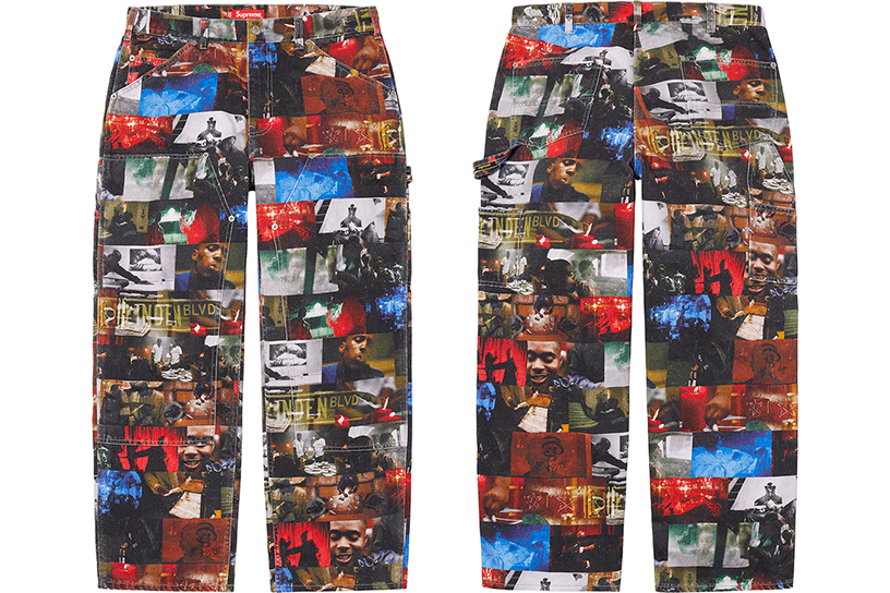 Nas and DMX Collage Double Knee Denim Painter Pant