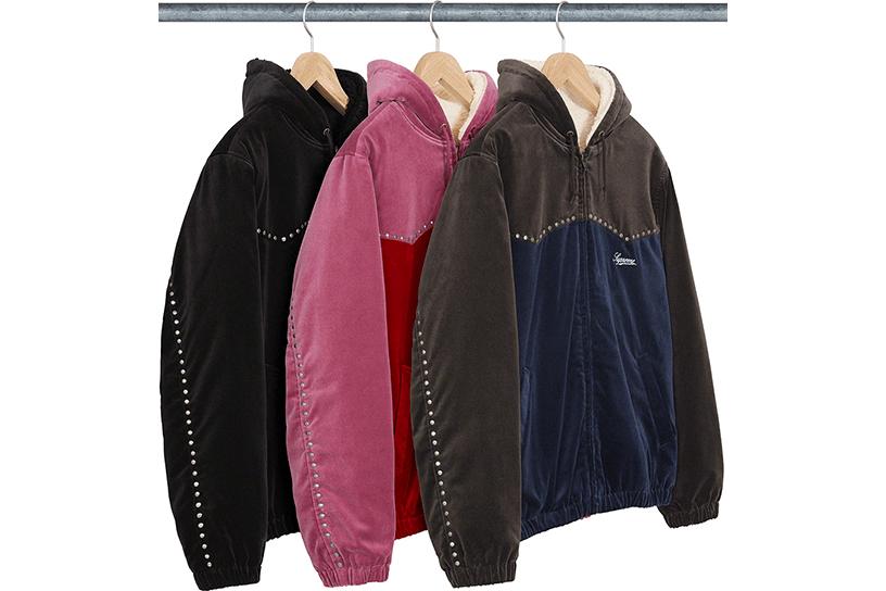 Studded Velvet Hooded Work Jacket