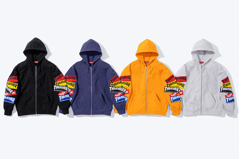 Supreme®/Thrasher® Multi Logo Zip Up Hooded Sweatshirt